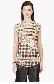 BALMAIN Gold Linen Check & Chain Print Tank Top for women