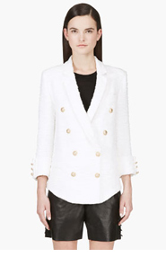 BALMAIN White Boucl&eacute Draped Blazer for women