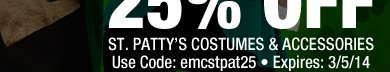 20% off St. Patty's Costumes & Accessories