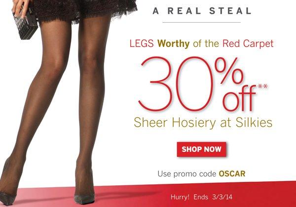 30% off Sheer Hosiery with promo code OSCAR.