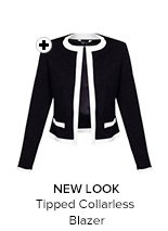 New Look Tipped Collarless Blazer