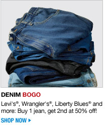 denim buy 1 jean, get 2nd at 50 percent off - shop now
