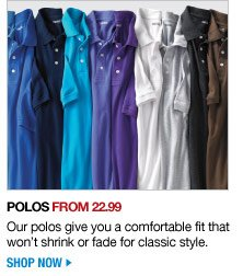polos from 22.99 - shop now