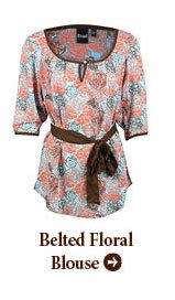 Belted Floral Blouse