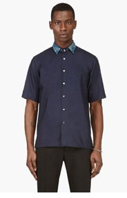 MIHARA YASUHIRO Navy Removable collar OXFORD SHIRT for men