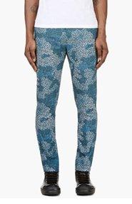 MIHARA YASUHIRO Blue Floral Print Pants for men