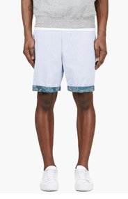 MIHARA YASUHIRO Blue & White Seersucker Deck Shorts for men