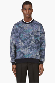 MIHARA YASUHIRO Blue Floral Print Sweatshirt for men