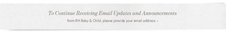 To Continue Receiving Email Updates from RH Baby & Child, provide your email address.