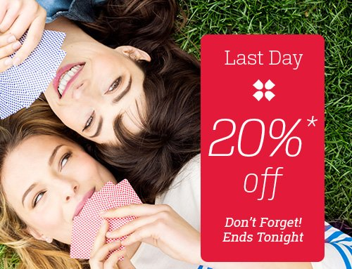 last day 20% off