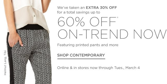 Up to 60% off Contemporary Trends