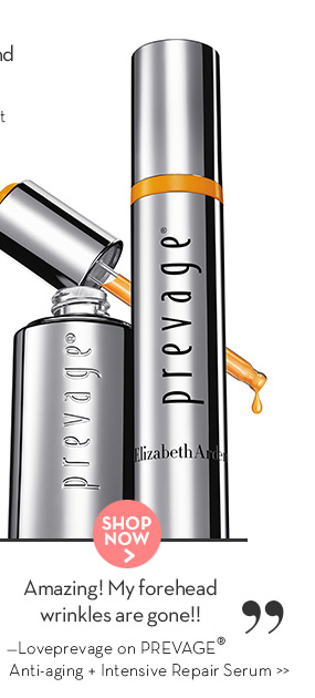 """""""Amazing! My forehead wrinkles are gone!!"""" —Loveprevage on PREVAGE® Anti-aging + Intensive Repair Serum. SHOP NOW."""
