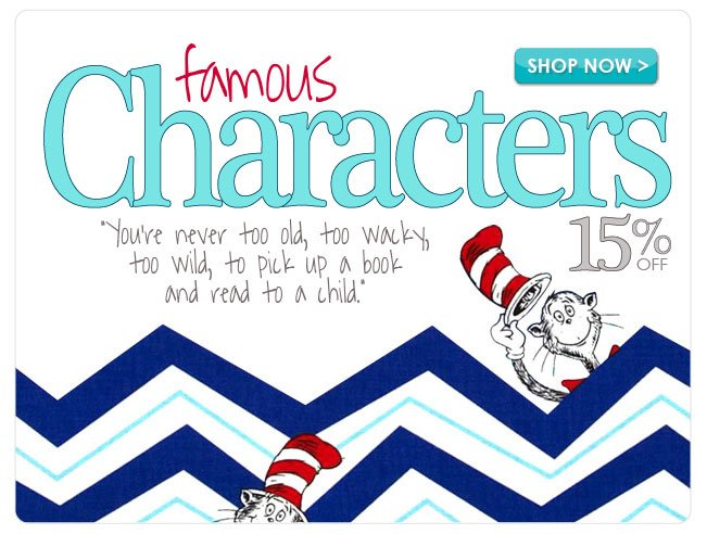 15% off Famous Character Cotton Prints