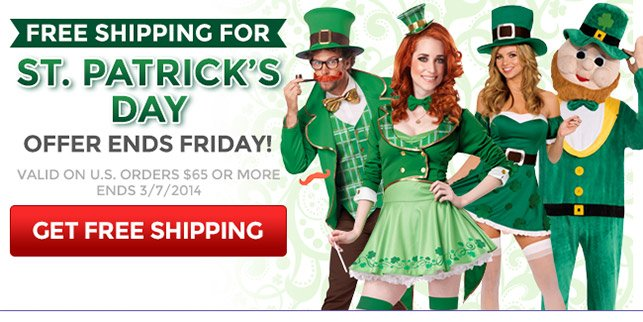 Free Shipping for St. Patrick's Day