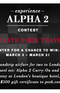 Experience Alpha 2 Contest - Enter on Facebook