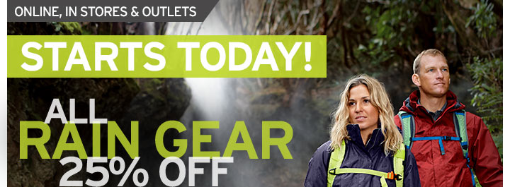 Starts Today - All Rain Gear 25% OFF