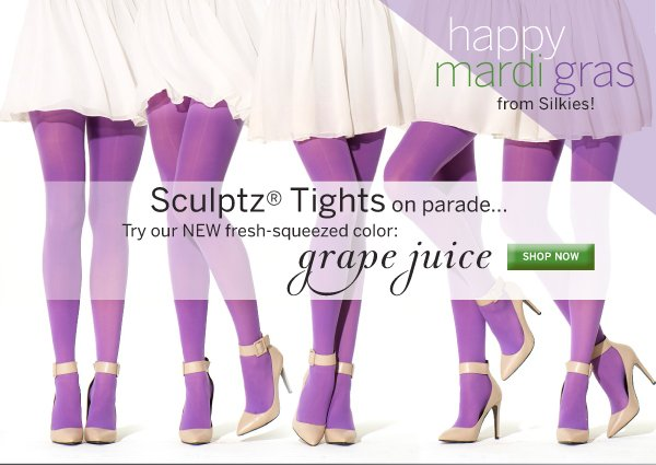 Celebrate Mardi Gras with Silkies in our new Grape Juice colored Sculptz Shaping Tights.