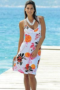 VENICE BEACH WHITE PRINT CROSS STRAP DRESS