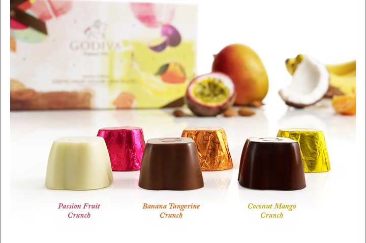 Passion Fruit Crunch; Banana Tangerine Crunch; Coconut Mango Crunch