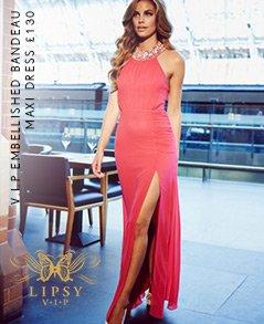 V I P Embellished Halter Neck Maxi Dress