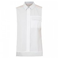 RAG AND BONE - Woodward leather trimmed sleeveless cotton shirt