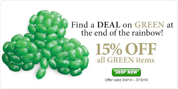 Get a Green Deal on Candy for St. Patrick's Day at JellyBelly.com*!