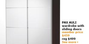 PAX AULI wardrobe with sliding doors | member price $459