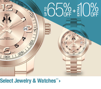 Up to 65% off + Extra 10% off - Select Jewelry & Watches**