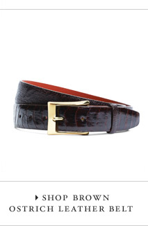 SHOP BROWN OSTRICH LEATHER BELT