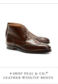 "SHOP PEAL "" CO. LEATHER WINGTIP BOOTS"