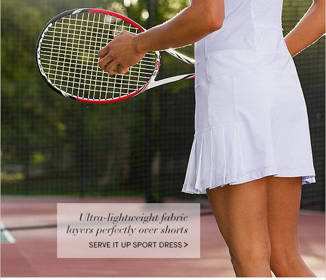 Ultra-lightweight fabric layers perfectly ove shorts | SERVE IT UP SPORT DRESS