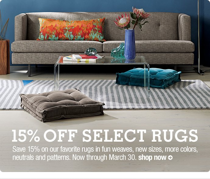 15% off select rugs