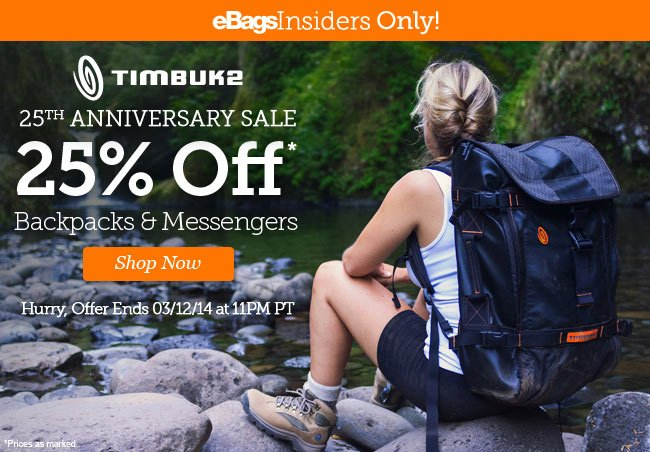 Timbuk2 Private Sale | 25% Off* Backpacks and Messengers in celebration of their 25th birthday! | Hurry, Offer ends 03/12/14 at 11PM PT | Shop Now