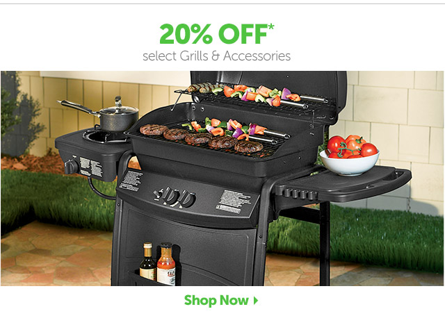 20% OFF* select Grills & Accessories - Shop Now