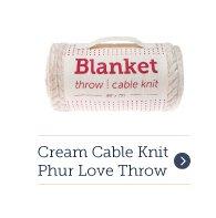 Cream Cable Knit Phur Love Throw Blanket
