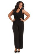 Side Drape Sleeveless Jumpsuit