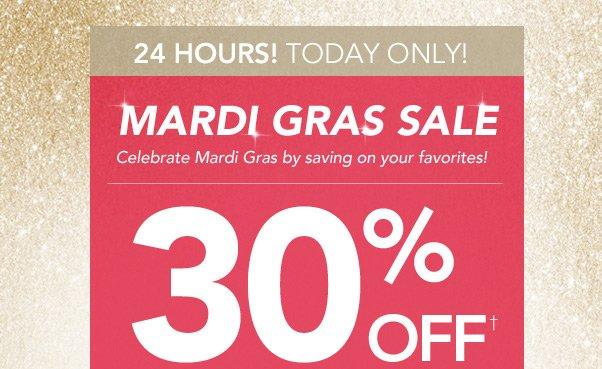 30% Off $30+ Mardi Gras Sale!