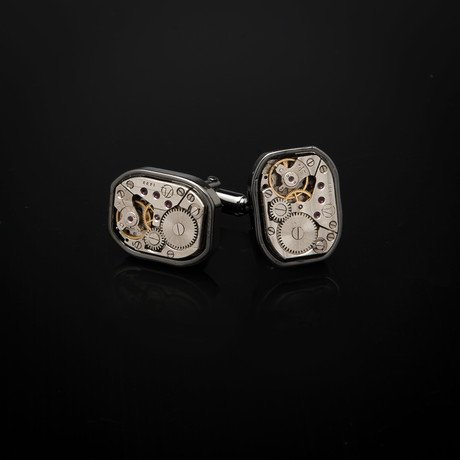 Watch Movement Cufflinks // Gunmetal Large Rectangular