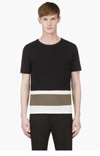 BAND OF OUTSIDERS Black Colorblocked T-Shirt for men