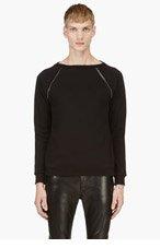 SAINT LAURENT Black Embellished Raglan Crewneck Sweater for men