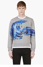 KENZO Heather Grey Wave Graphic Sweater for men