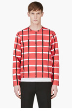 KENZO Red Neoprene Check Sweater for men