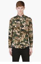 MSGM Green Python Print Camo Shirt for men