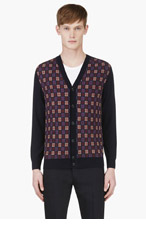 MARC JACOBS Navy & Red Grid Check CARDIGAN for men