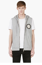BALMAIN Grey Patched Sleeveless Hoodie for men