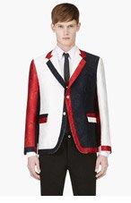 THOM BROWNE White, Red & Navy Jacquard Blazer for men