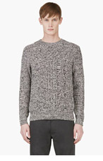 MARC BY MARC JACOBS Black & White Cable Knit Sweater for men