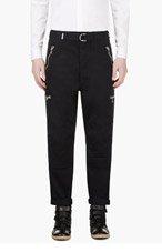 BALMAIN Navy Zippered Biker Trousers for men