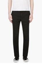 LANVIN Black Woven Check Trousers for men
