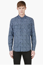 DIESEL Blue Floral Print Sulfur Shirt for men